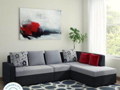 Bharat Lifestyle Nano Fabric 6 Seater Sofa  (Finish Color – Black Grey)