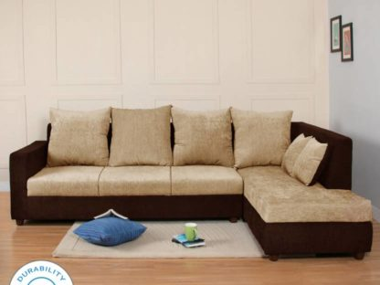 Cream Brown  4 Seater Sofa